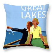 Cruise The Great Lakes Vintage Travel Poster Throw Pillow
