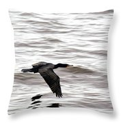 Cruising Cormorant Throw Pillow