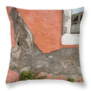 Crumbled Plaster Of An Orange Wall, Reflection Of A Boat In The Window Throw Pillow