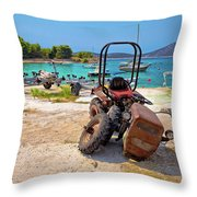 Crushed Tractor By The Sea On Island Prvic Throw Pillow