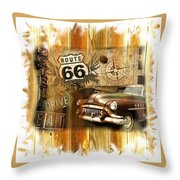 Crusin N Dining On Rt 66 Throw Pillow
