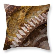 Crusty Rusty Gears Throw Pillow