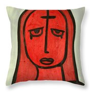 Crying Girl Throw Pillow