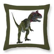 Cryolophosaurus On White Throw Pillow