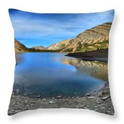 Crypt Lake Gold And Blue Throw Pillow