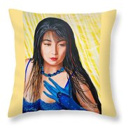 Crystal Blue China Girl            From   The Attitude Girls  Throw Pillow