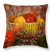 Crystal Bowl Of Fruit Throw Pillow