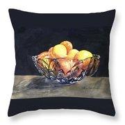 Crystal Bowl With Fruit Throw Pillow