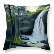 Crystal Falls In The Black Forest Dreamy Mirage Throw Pillow