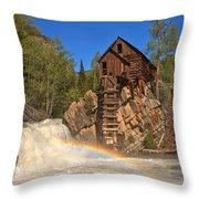 Crystal Mill Rainbow Portrait Throw Pillow