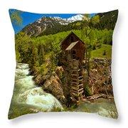 Crystal Mill Summer Landscape Throw Pillow