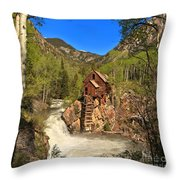 Crystal Mill Through The Trees Throw Pillow