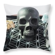 Crystal Skulls Michelangelo, Jesus And Xenia Throw Pillow