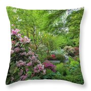 Crystal Springs Rhododendron Garden In Bloom Throw Pillow