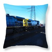 Csx Engines Going Bye Bound Brook Train Stations Throw Pillow