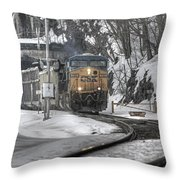 Csx Northbound At Mine Dock Road Highland Falls New York Throw Pillow
