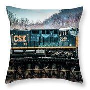 Cs X  Ge Engine 3046 On Trestle Throw Pillow