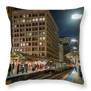 Cta Pulls Into The State-lake Street Station Chicago Illinois Throw Pillow