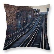 Cta Train Approaching Damen Avenue Station Chicago Illinois Throw Pillow