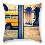 Cuban School Bus And Driver Throw Pillow