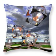 Cubes Capture Spheres In Another World Throw Pillow