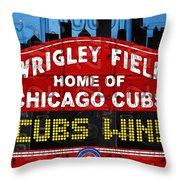 Cubs Win Wrigley Field Chicago Illinois Recycled Vintage License Plate Baseball Team Art Throw Pillow