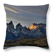 Cuernos Sunset Begins #4 - Patagonia Throw Pillow