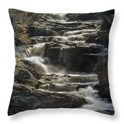 Cullasaja Falls In Autumn Close Up Throw Pillow