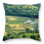 Cultivated Vineyards Tuscany  Italy Throw Pillow