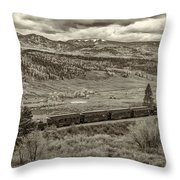 Cumbres Toltec Railroad Nm Sepia Dsc04065 Throw Pillow