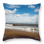Cumulus Clouds Passing Across The Beach At Skegness Lincolnshire England Throw Pillow