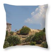 Cunda Island Greek Windmill Throw Pillow