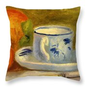 Cup And Oranges Throw Pillow