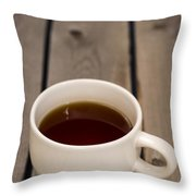 Cup Of Black Coffee On Bare Table Throw Pillow