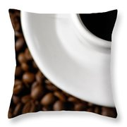 Cup Of Black Coffee On Coffee Beans Throw Pillow