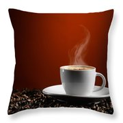 Cup Of Coffe Latte On Coffee Beans Throw Pillow
