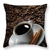 Cup Of Coffe On Coffee Beans Throw Pillow