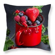 Cup Of Fresh Berries Throw Pillow