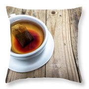 Cup Of Hot Tea On Wood Table Throw Pillow