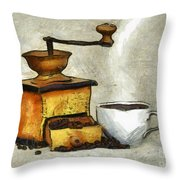 Cup Of The Hot Black Coffee Throw Pillow