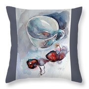 Cup With Cherry Throw Pillow