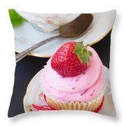 Cupcake With Strawberry Throw Pillow