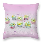 Cupcakes And Butterflies Throw Pillow