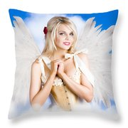 Cupid Angel Of Love Flying High With Fairy Wings Throw Pillow