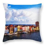 Curacao Oil Throw Pillow