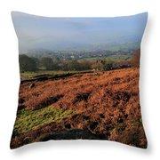 Curbar Edge Curbar Valley Derbyshire Throw Pillow