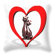 Curiosity Heart Loves The Cats Throw Pillow