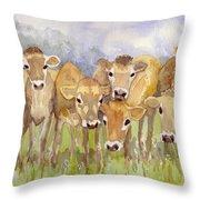 Curious Calves Throw Pillow