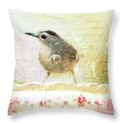 Curious Catbird Throw Pillow
