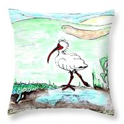 Curious Ibis Stands By Throw Pillow